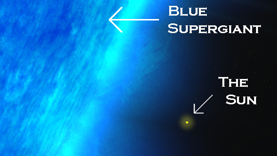 Blue supergiant compared to the Sun