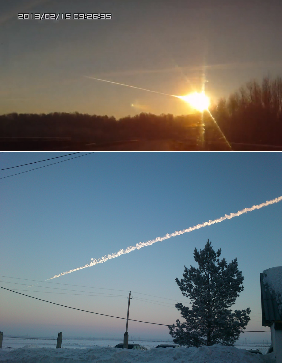 Chelyabinsk fireball and smoke trail
