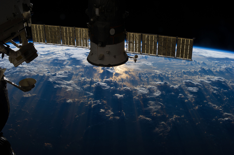shadows of clouds seen from the space station