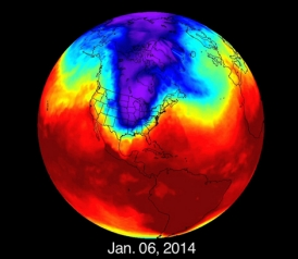 Polar vortex: Deep meanders in vortex linked to global warming.