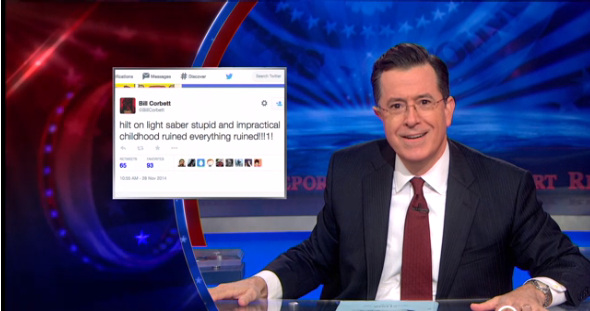 Stephen colbert making a mockery of mockery for Farcical comedy definition