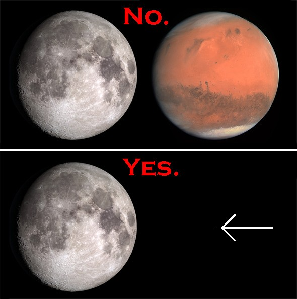Mars big as the Moon: Not in 2015 or ever.
