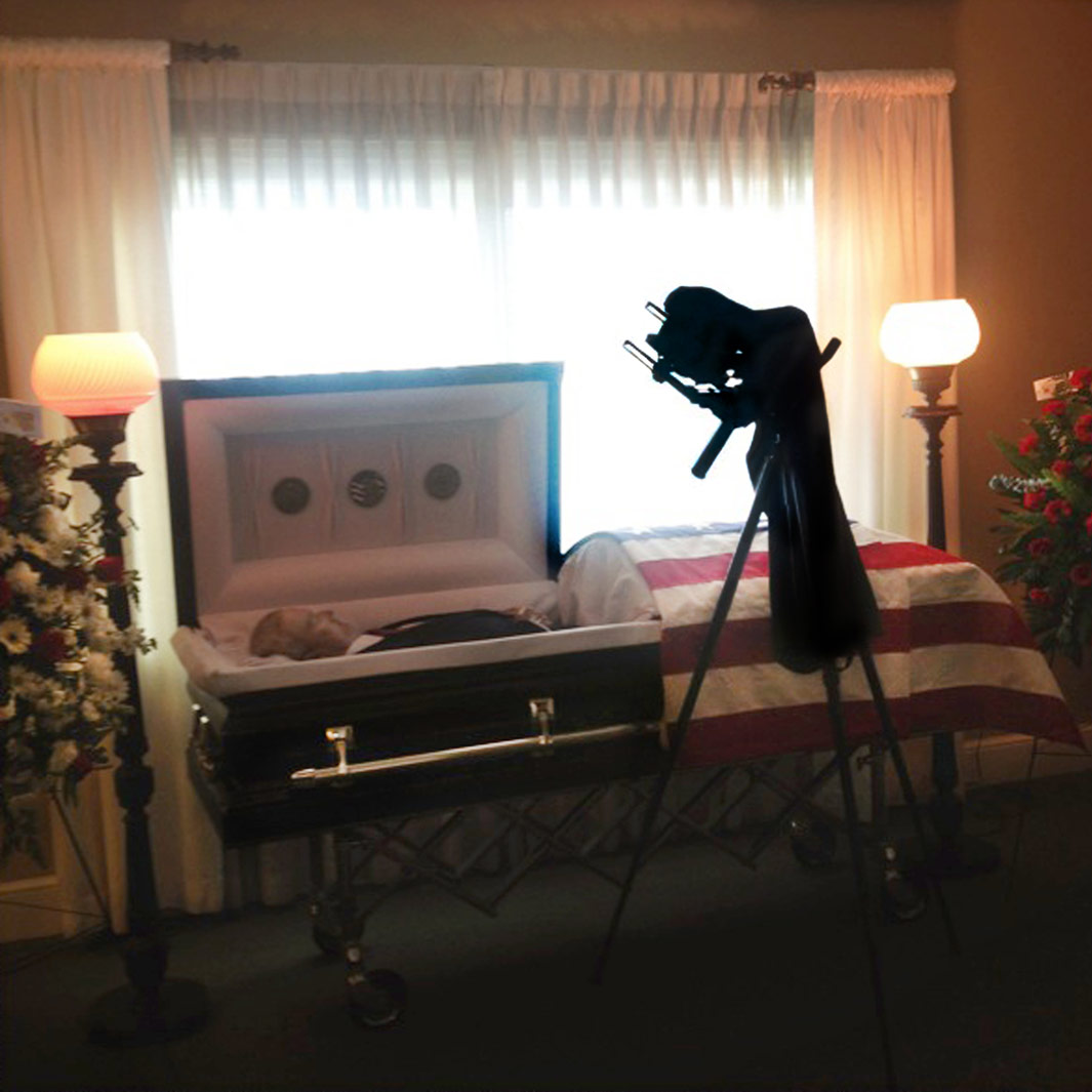 Farewell, 2013 I went the funeral home a few hours early on the day of visitation. A mortician watched me as I photographed my father in the casket. He informedme about how the dead do not reflect light the same as the living.