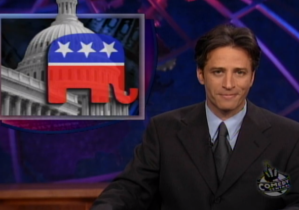 Jon Stewart in his first episode as host of The Daily Show.