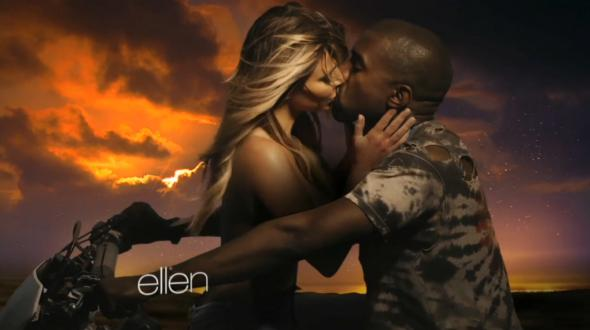 "Kanye West and Kim Kardashian in ""Bound 2."""