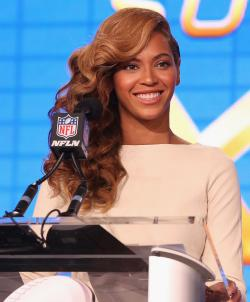Beyonce speaks at the Super Bowl Halftime Press Conference
