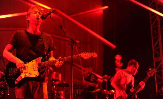 Thom Yorke and Flea perform with Atoms for Peace in 2010.