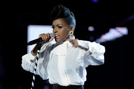 Janelle Monáe  performs during the 2013 BET Awards