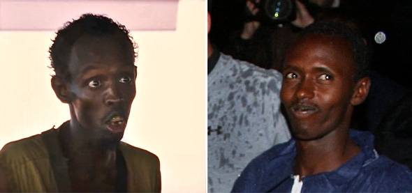 Barkhad Abdi in Captain Phillips, left, and Somali hijacker Abduwali Muse, right.