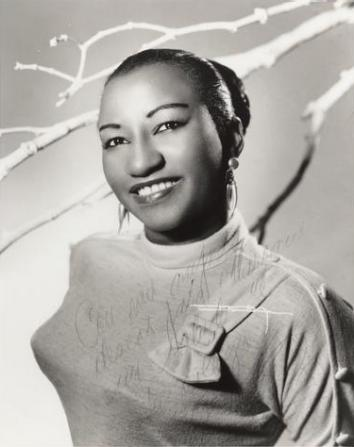 "Celia Cruz photo dedicated to Pedro Marcano, 1959. ""My best wishes for Marcano, greetings from his colleague Celia Cruz."""