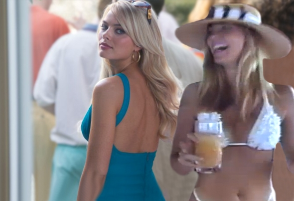 Margot Robbie in The Wolf of Wall Street, left, and Nadine Caridi.