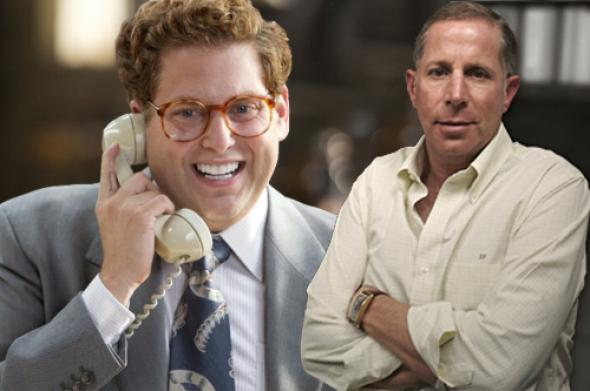 Jonah Hill in The Wolf of Wall Street, left, and Danny Porush.