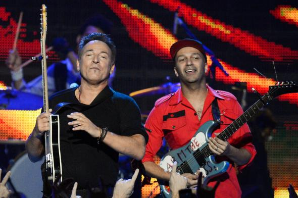 Bruce Springsteen plays with Rage Against the Machine guitarist Tom Morello