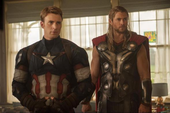 Captain America and Thor in Avengers 2: Age of Ultron.