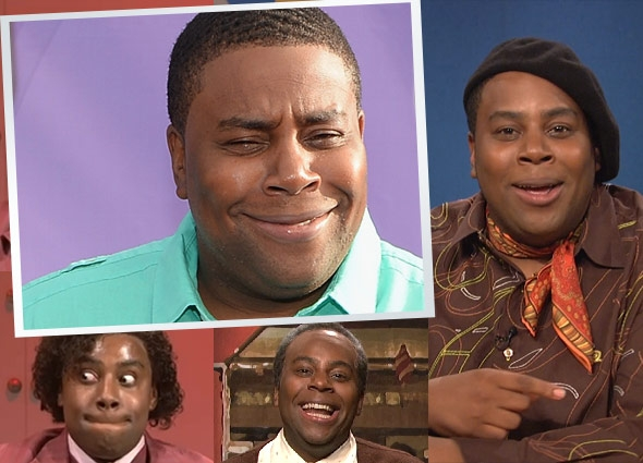 Clockwise from top left, Kenan Thompson as himself, as SNL's Jean K. Jean, as SNL's Grady Wilson, and in MTV's What Up With That host.