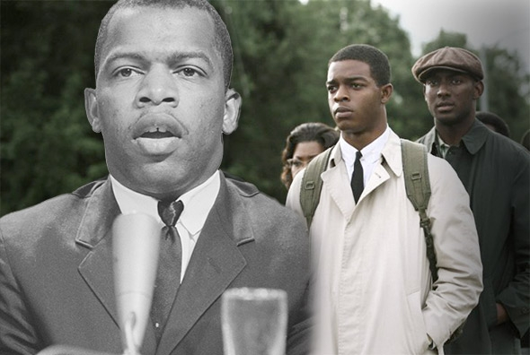 John Lewis in April 6, 1964, left; Stephan James as John Lewis in Selma.