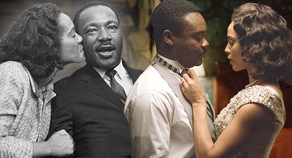 Coretta Scott King kisses her husband, Martin Luther King, Jr., in Montgomery, Alabama, March 25th 1965, left; Carmen Ejogo as Coretta Scott King and David Oyelowo as Martin Luther King, Jr., in Selma.
