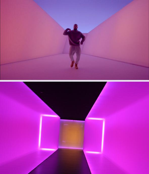Drake's Hotline Bling, top, and James Turrell.,Drake's Hotline Bling, top, and James Turrell.