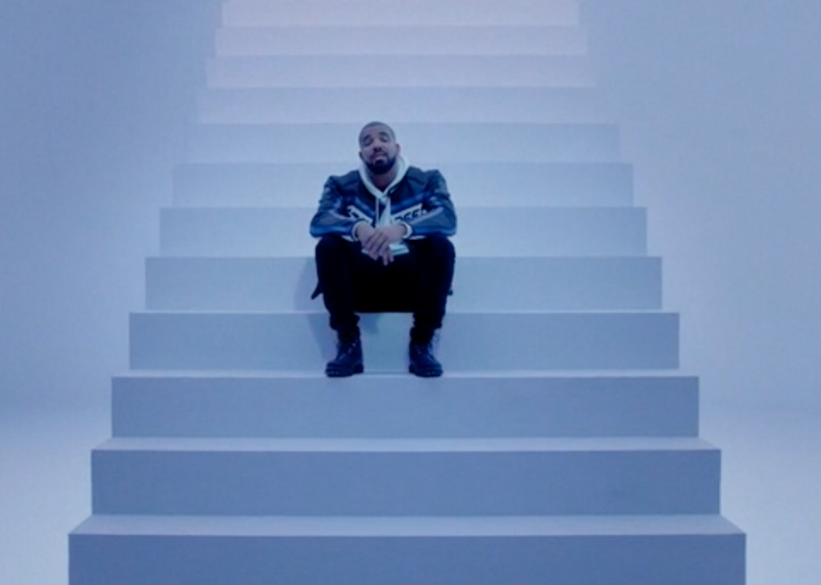 "Drake, glumly singing from some stairs in ""Hotline Bling."""