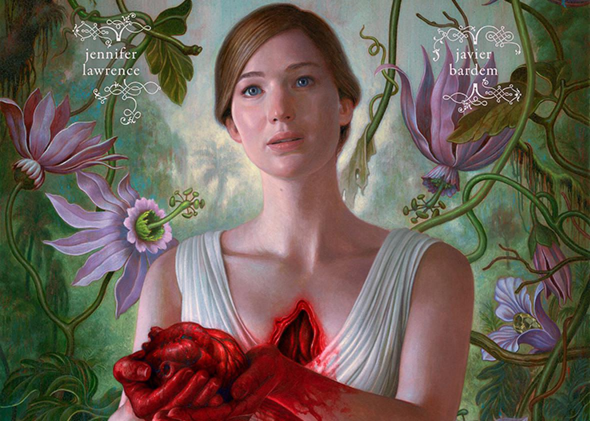 Poster for Aronofsky's Mother! w/ Jennifer Lawrence rips out hearts