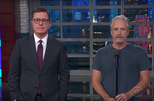 Colbert Invites Jon Stewart to Give Trump 'Equal Time' During His Monologue