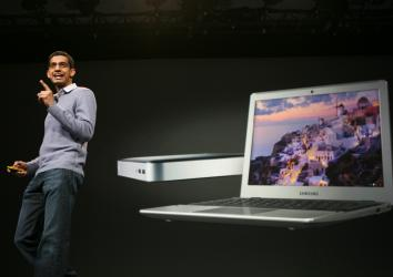 Sundar Pichai, senior vice president of Chrome, introduces the new Chromebook and Chromebox in San Francisco on June 28, 2012.