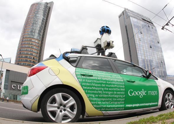 A Google Street View car explores Vilnius, Lithuania, on June 7, 2012.