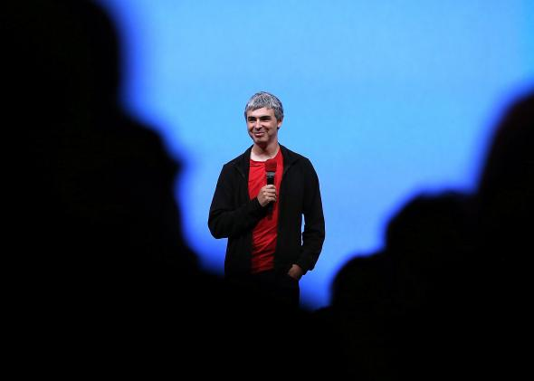 Page speaks during the opening keynote at the Google I/O developers conference in San Francisco in 2013 in San Francisco, California.