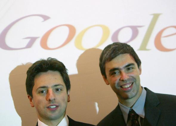 Google founders Sergey Brin and Larry Page in Frankfurt, Germany, in 2004.