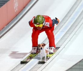 ski jumper with dog