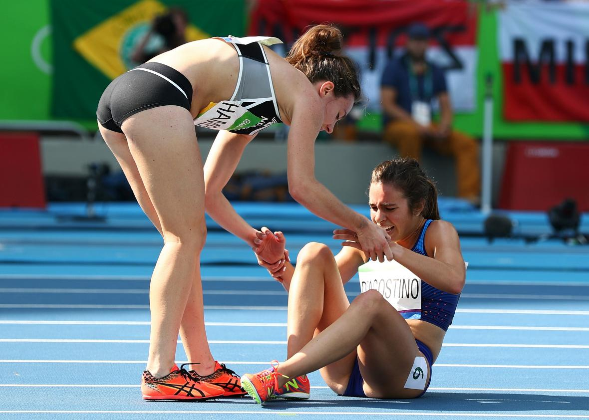 Nikki Hamblin, Abbey D'Agostino, and how the Olympic spirit gets packaged  and sold.