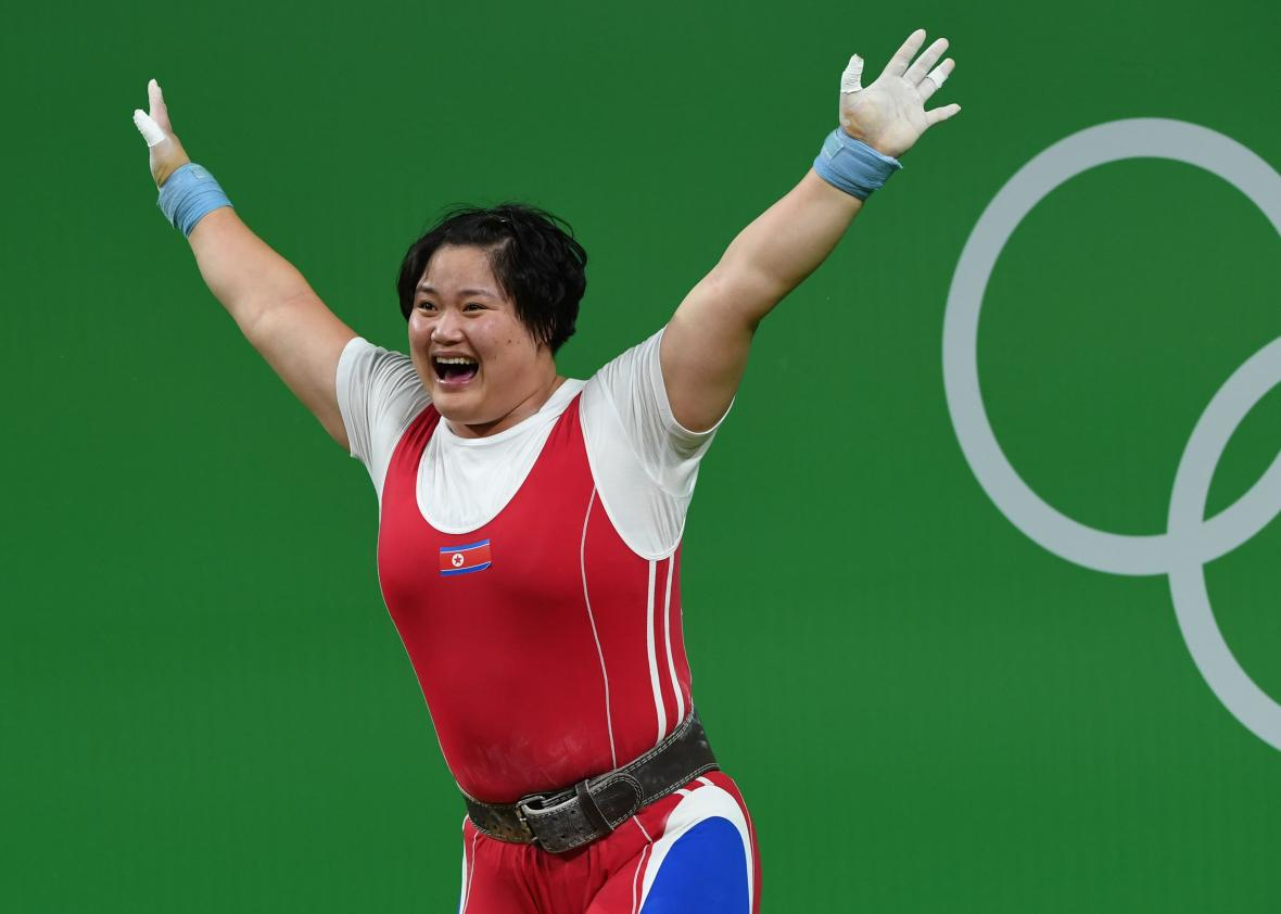 589517944-north-koreas-kim-kuk-hyang-creacts-while-competing-in