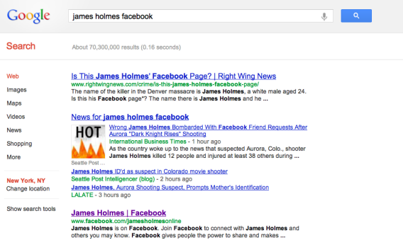 Google search for James Holmes Facebook profile