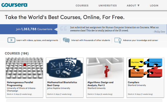 Online education startup Coursera just doubled its roster of university partners.