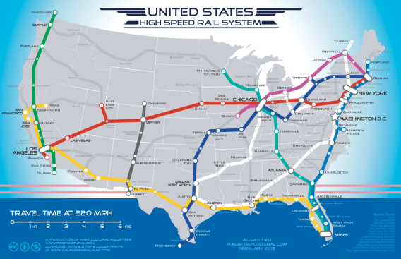 US Highspeed Rail Map Artist Alfred Twus Alternate Reality - New york to boston rail on map of us
