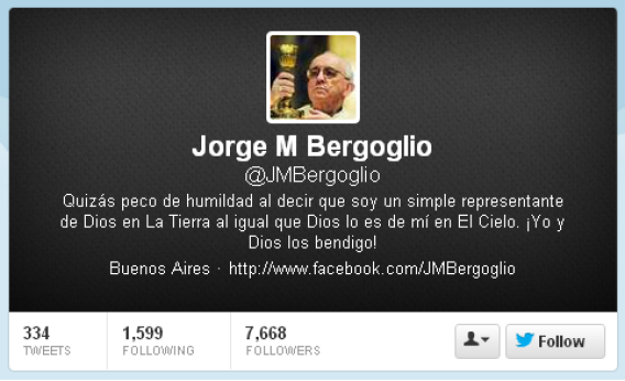Fake @jmbergoglio Twitter account.