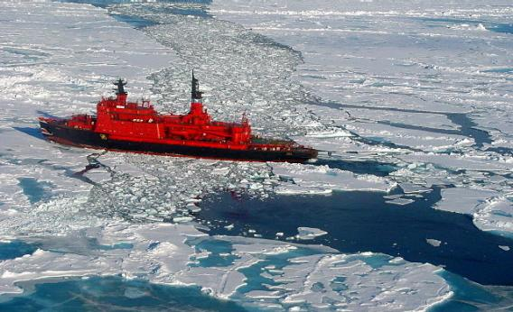 A nuclear icebreaker on its way to the North Pole in 2001.