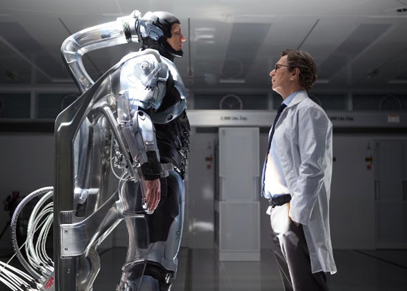 Gary Oldman and Joel Kinnaman in RoboCop.