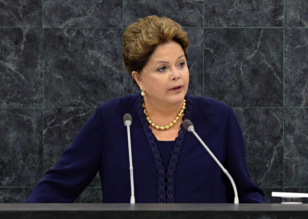 Brazilian President Dilma Roussef speaks at the United Nations General Assembly on Sept. 24, 2013.