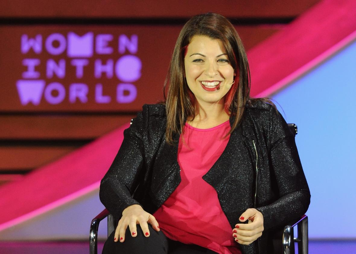 Founder and executive director of Feminist Frequency Anita Sarkeesian speaks on stage during the Women in the World Summit on April 23, 2015.