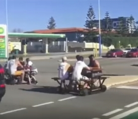 Australian Police Trying To Catch People On Motorized Picnic Tables - Motorized picnic table