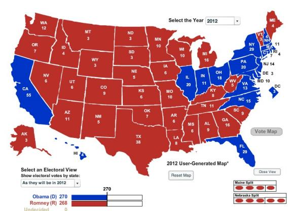 Geographically smallest Electoral College map