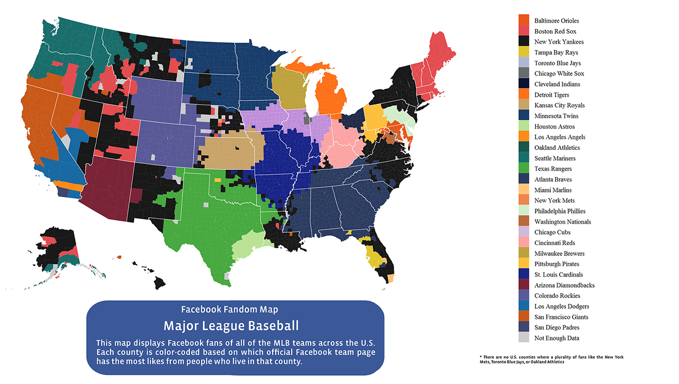 Facebook MLB Fan Map Americas Most Popular Baseball Teams - Mlb us map