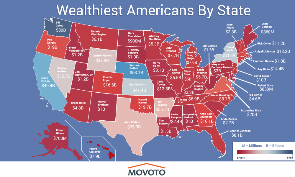 This map shows the richest person in each state Who is it in