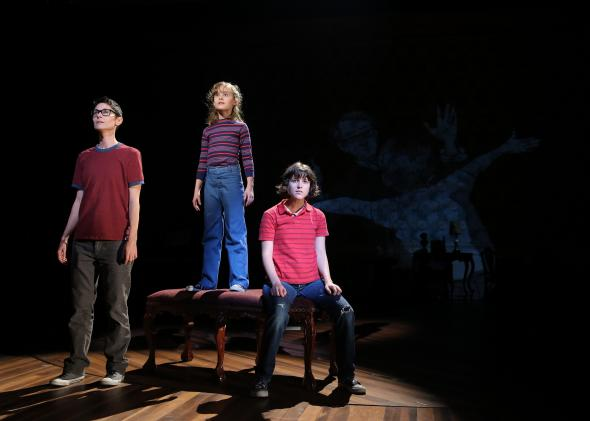 Beth Malone, Sydney Lucas, and Alexandra Socha as Alison in Fun Home.