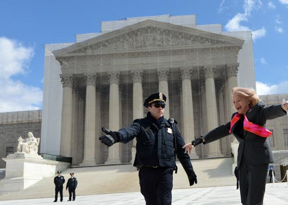 83-year-old lesbian widow Edie Windsor leaves the Supreme Court on March 27, 2013