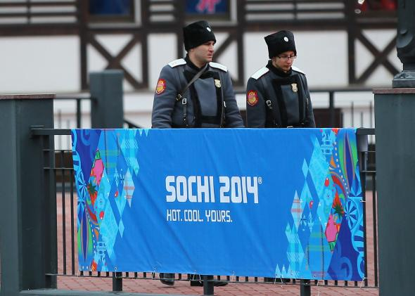 A police security patrol ahead of the Sochi Winter Olympics.