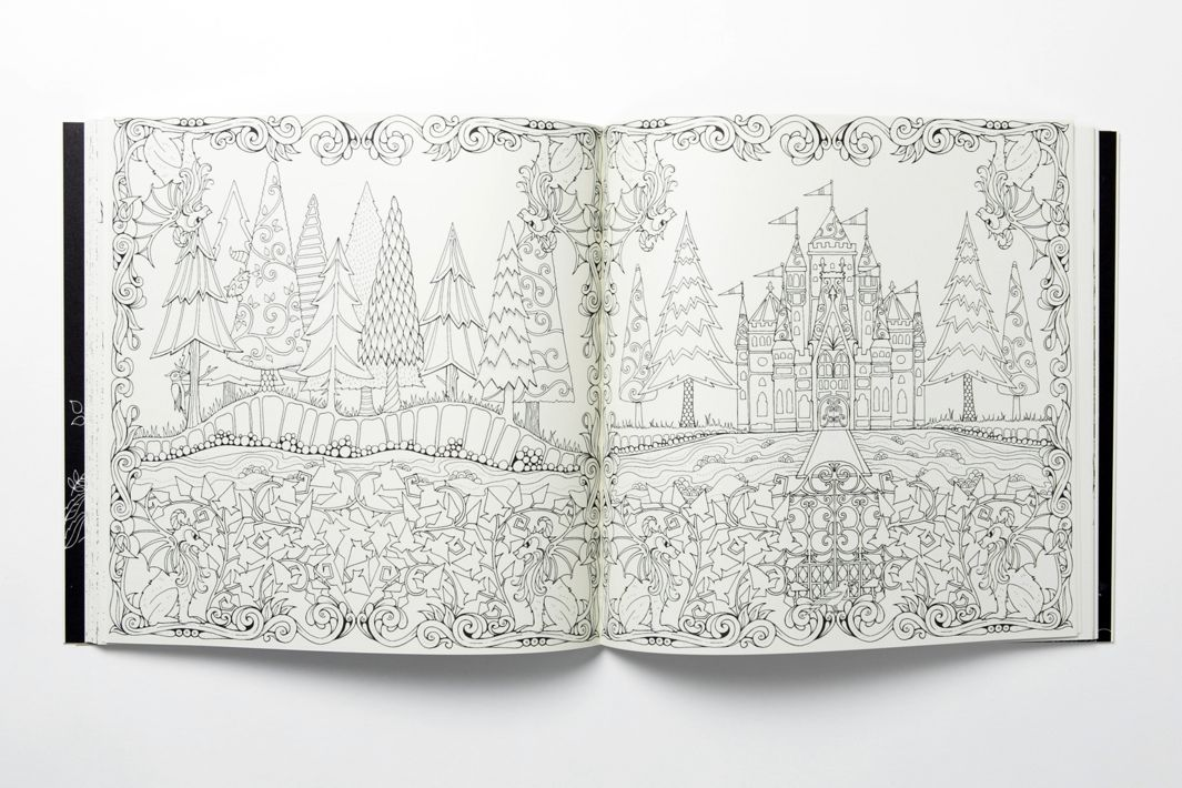 Enchanted Forest Spread 12 Johanna Basfords Intricate Hand Drawn Coloring Books For Adults