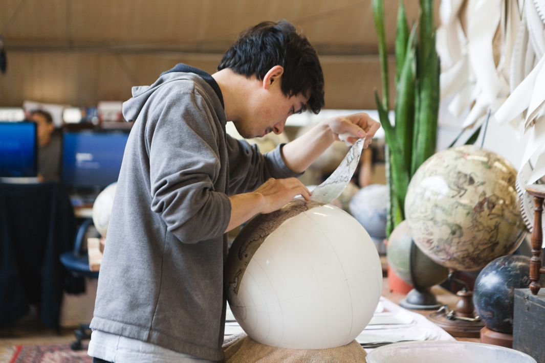 Jon working on a handcrafted globe in the studio of Bellerby and Co London - 4 - Photo credit Ana Santl.jpg