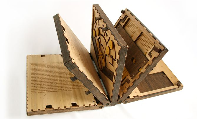 Codex Silenda is a wooden book whose story you unlock by solving five mechanical puzzles.